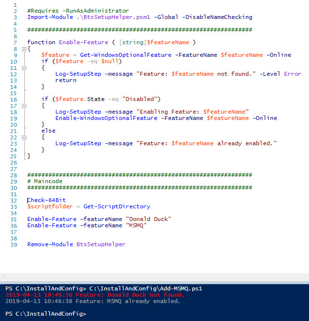 Sample Script to enable Windows Feature