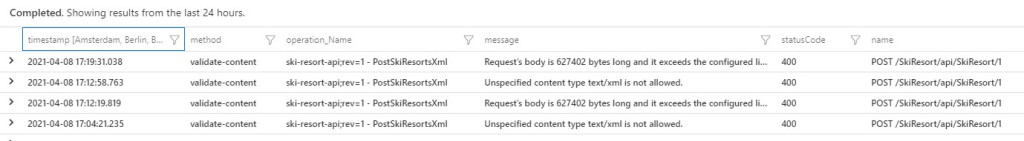 Preventions will generate exceptions, here seen in Application Insights