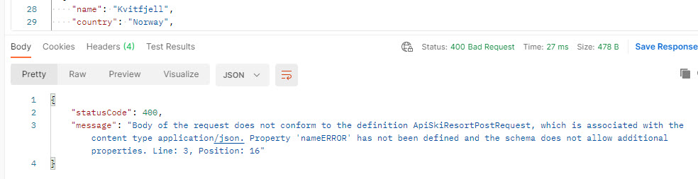 Resulting Status Code 400 -  Invalid json
