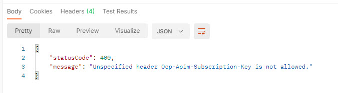 Resulting Status Code 400 -  Unspecified header