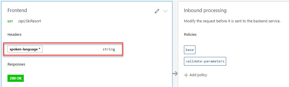 The required header in APIM