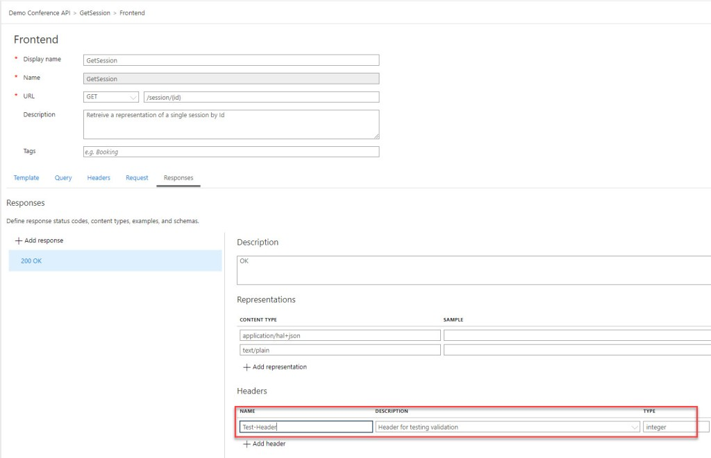 Header in the specification
