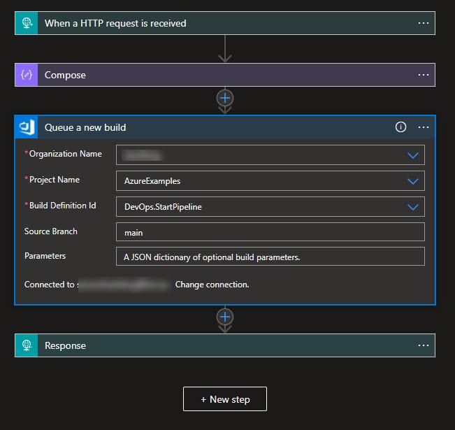Azure DevOps Queue a new build action in Logic Apps