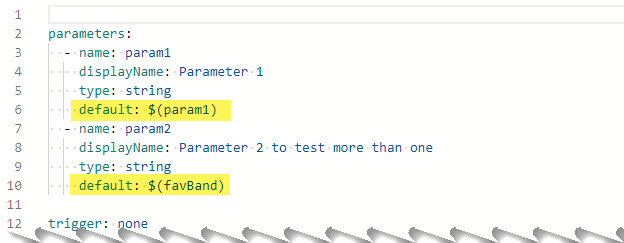 Parameters section in the pipeline definition.